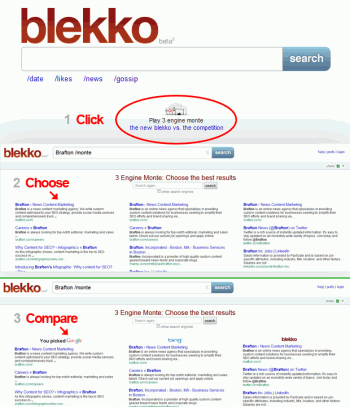 User-curated search engine Blekko added a new feature called 3 Engine Monte that allows users to choose which results in found the most valuable without knowing which engine produced them.