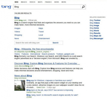 Bing's new SERPs are decidedly simple and less cluttered than its previous iteration or Google's current pages.