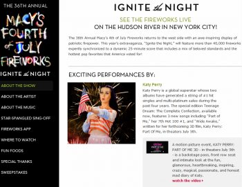Macy's is using website content to promote both its July 4th Sale and fireworks event in New York.