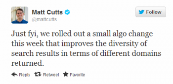 Matt Cutts reported through a Tweet that Google rolled out a small algorithm update during the week.
