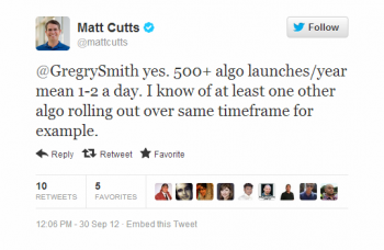 This response from Matt Cutts shows that there is more to Google than Panda and Penguin.